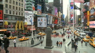 Stock Video Footage of Pan of Traffic and People at times square