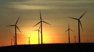 Stock Video Footage of windmills & sunset