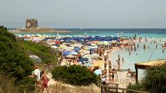 Crowded beach Stock Footage