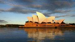 Sydney Opera House at sunset with calm water Stock Footage