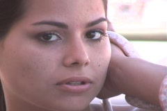 Beautiful Brunette With a Snake at a Marina-16b Stock Footage
