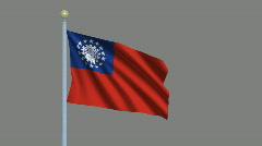 Flag of Myanmar / Burma Stock Footage