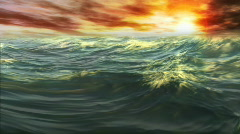 1078 Ocean Waves Whitecaps Sunset HD Stock Footage