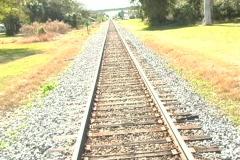 Railroad Track (camera cranes down) Stock Footage