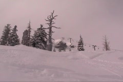 Skiing powder at Squaw Valley Stock Footage