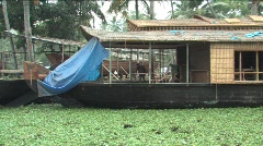 Houseboat on the backwater of Alleppey India - stock footage