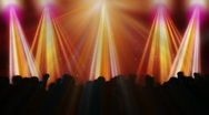 Stock Video Footage of Disco flashes with concert crowd and colorful reflectors