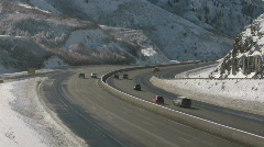 I-80 winter canyon CR Stock Footage