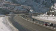 Stock Video Footage of I-80 winter canyon CR