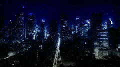 Snowy City at Night Stock Footage