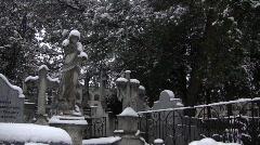 Snowed Cemetery 02 Stock Footage