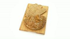 Bread on board topview Stock Footage