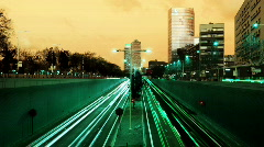 Barcelona traffic transport vehicles rush hour urban city night Stock Footage