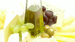 Cheese and olive oil high key Stock Footage
