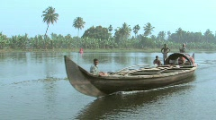 Life along the backwaters of Alleppey waterway, India - stock footage