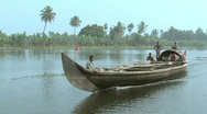 Life along the backwaters of Alleppey waterway, India Stock Footage