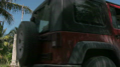 Jeeps passing by Stock Footage