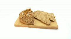 Bread on board wideangle Stock Footage