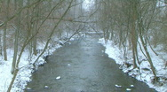 Creek with Snow Falling Stock Footage
