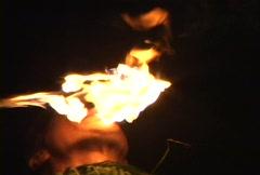 Fire Dancer Eats Flame Stock Footage