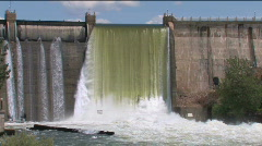 Dam Spillway Pan Down River Stock Footage