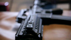 Gun Rack FOcus assualt rifle Stock Footage
