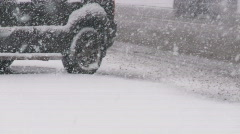 Snowing on city roads. - stock footage