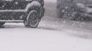 Snowing on city roads. Stock Footage