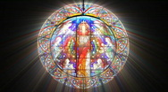 Stock Video Footage of Stained Glass Jesus with light rays (Loop)
