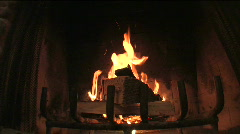 Fire Burning in Fireplace - stock footage