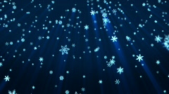 Snowflakes falling animation blue Stock Footage