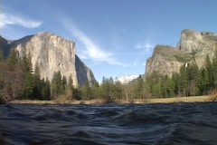 A river flows through Yosemite National Park. Stock Footage