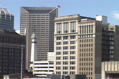 Office buildings rise in Downtown Indianapolis. Stock Footage