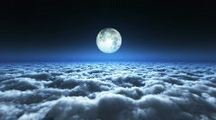 Flight above cloud with moonlight - stock footage