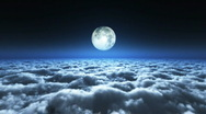 Stock Video Footage of Flight above cloud with moonlight