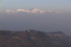 The Himalayan mountains rise behind the city of Darjeeling, India. Stock Footage