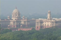 The Indian Parliament building stands in New Delhi, India. Stock Footage