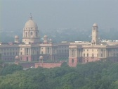 Stock Video Footage of The Indian Parliament building stands in New Delhi, India.