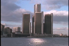 The Renaissance Towers dominate Detroit's skyline. - stock footage