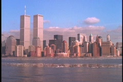 The World Trade Center towers above the New York skyline. Stock Footage