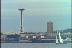 Seattle's Space Needle towers above the waterfront. Stock Footage