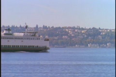 A Seattle ferryboat crosses Puget Sound. Stock Footage