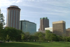 Office buildings and hotels tower over downtown St. Louis. Stock Footage