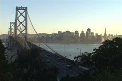 The Bay Bridge spans the San Francisco bay. Stock Footage