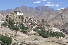 A monastery nestles in the Himalayan mountains. Stock Footage