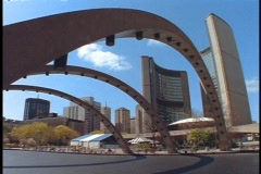 Steel arches span a city street in Toronto. Stock Footage