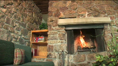 Cozy Cabin with Fireplace Stock Footage