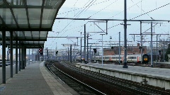Trains arriving to the station Stock Footage