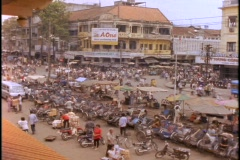 A large market in the district of Cholon, Saigon bustles with activity. Stock Footage