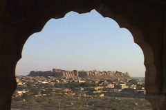 A window looks out at Jaisalmer. Stock Footage